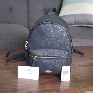 Coach mini Charlie backpack in midnight navy blue